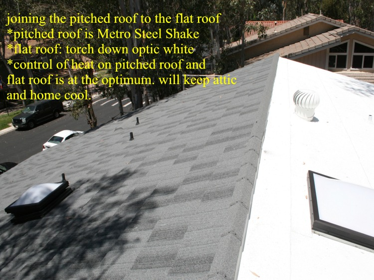Metro steel shake and flat roof installation in California