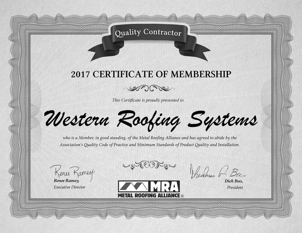 California Metal Alliance roofing contractor award