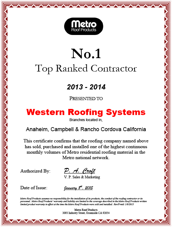 Number one roofing contractor in California